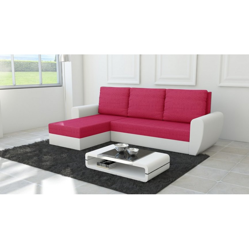Canapé d'angle convertible Fiesta rouge 250x145 cm