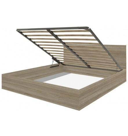 Cadre de lit en chêne avec coffre de rangement intégré CADELL -140x200 cm