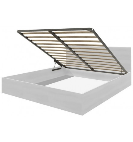 Cadre de lit en blanc avec coffre de rangement intégré CADELL -140x200 cm