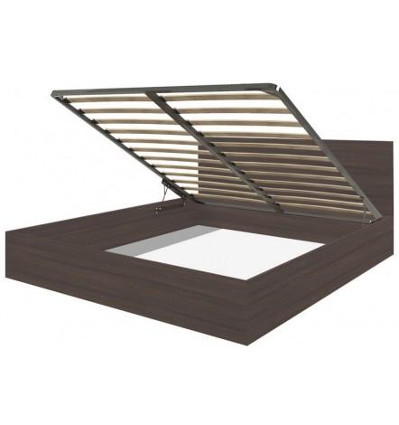 Cadre de lit en Wengé avec coffre de rangement intégré CADELL -160x200 cm