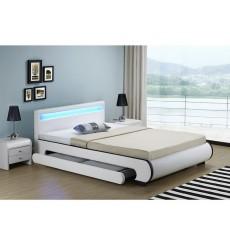 Lit avec tiroirs de rangement et leds CASARIA blanc 140x200 cm