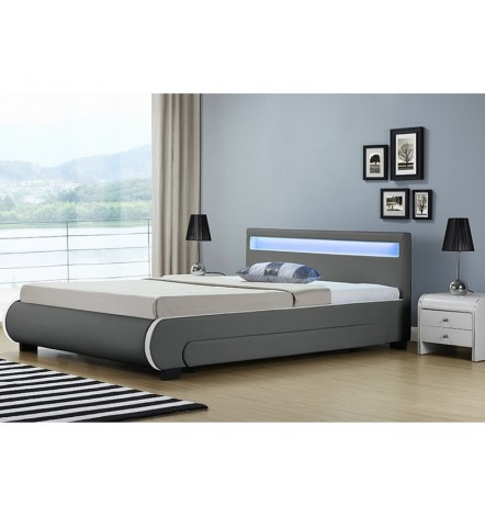 Lit avec tiroirs de rangement et leds CASARIA gris 140x200 cm