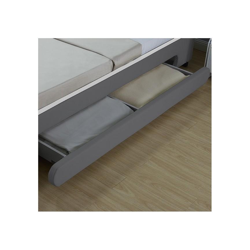 Lit avec tiroirs de rangement et leds CASARIA gris 140x200 cmsur notre boutique en ligne de ...