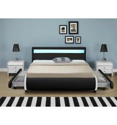 Lit avec tiroirs de rangement et leds CASARIA noir 140x200 cm