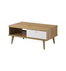 Table basse NORDI en chêne avec niche et tiroir