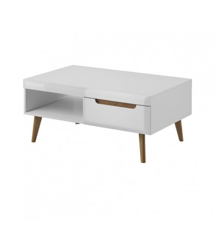 Table basse NORDI laqué avec niche et tiroir