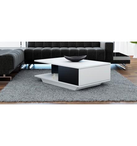 Table basse Bicolore ASPEN  avec niche et rangement blanc et noir