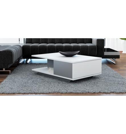Table basse Bicolore ASPEN avec niche et rangement en blanc et gris
