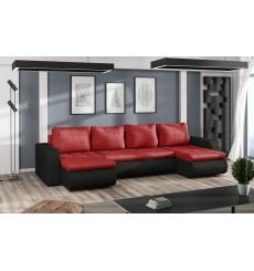 Canapé d'angle convertible réversible BROOKLYN rouge 315 x 150 cm
