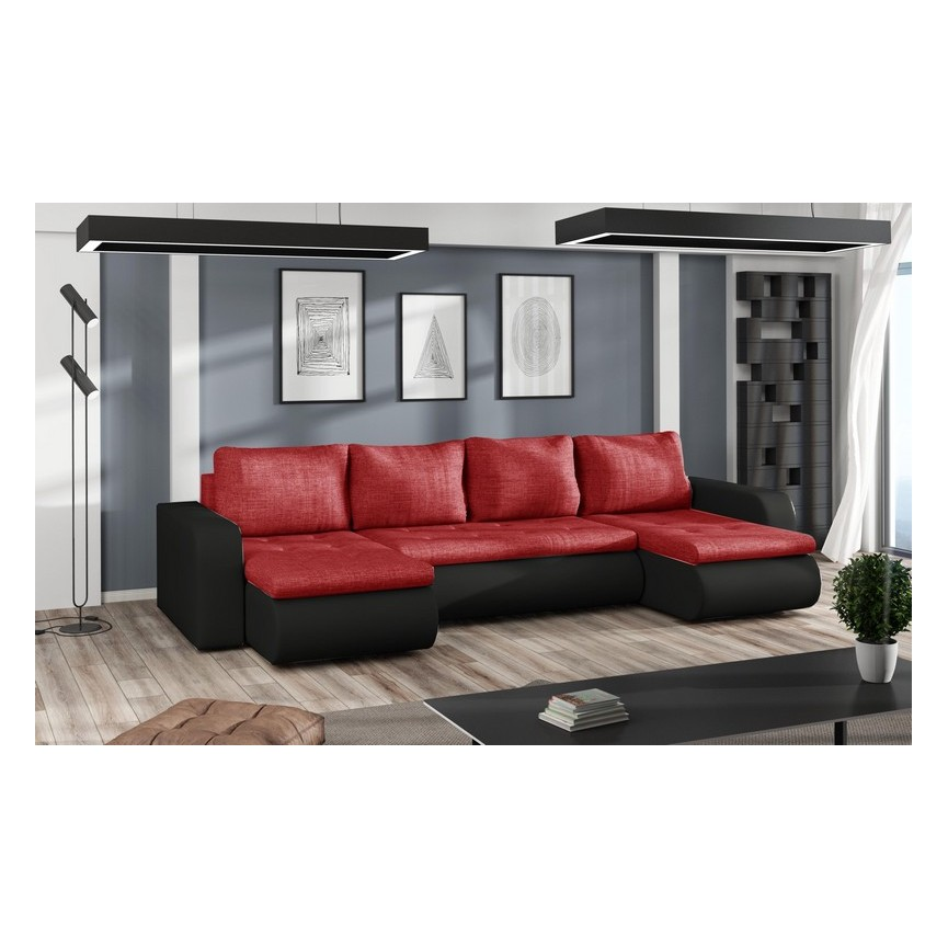 Canapé d'angle convertible BROOKLYN rouge 315 x 150 cm
