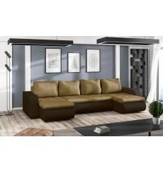 Canapé d'angle convertible réversible BROOKLYN  marron 315 x 150 cm