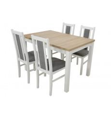 Ensemble Table à manger extensible structure en bois massif 120-150 cm et 4 chaises LOUTRAKI