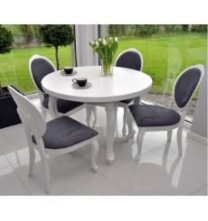 Ensemble Table à manger ronde extensible structure en bois massif 100-140 cm et 4 chaises DIANA