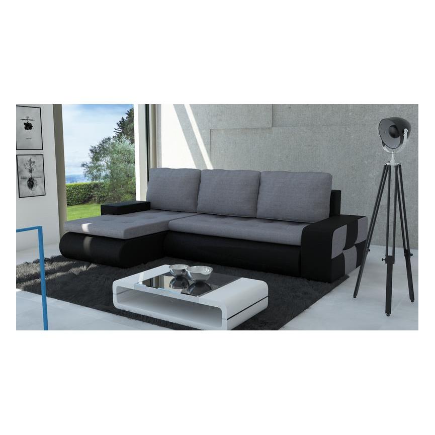 Canapé d'angle convertible BRONX noir 245x140 cm