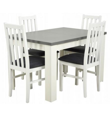 Ensemble Table à manger extensible structure en bois massif 120-160 cm et 4 chaises CHALSSIS