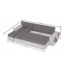 Canapé d'angle convertible BRONX gris 245x140 cm