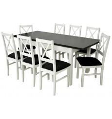 Ensemble Table à manger extensible structure en bois massif 140-180 cm et 8 chaises KAVALA