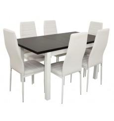 Ensemble Table à manger extensible structure en bois massif 120-150 cm et 6 chaises ADYA