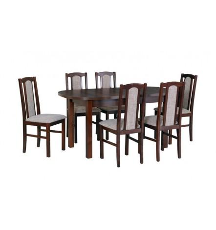 Ensemble Table à manger ovale extensible structure en bois massif 160-200 cm et 6 chaises LAYEM
