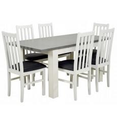 Ensemble Table à manger extensible structure en bois massif 120-160 cm et 6 chaises CHALSSIS