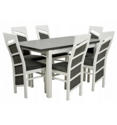 Ensemble Table à manger extensible structure en bois massif 120-150 cm et 6 chaises VERRAT