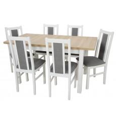 Ensemble Table à manger extensible structure en bois massif 120-150 cm et 6 chaises LOUTRAKI