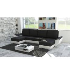 Canapé d'angle convertible réversible GRAZIA noir 322x140 cm