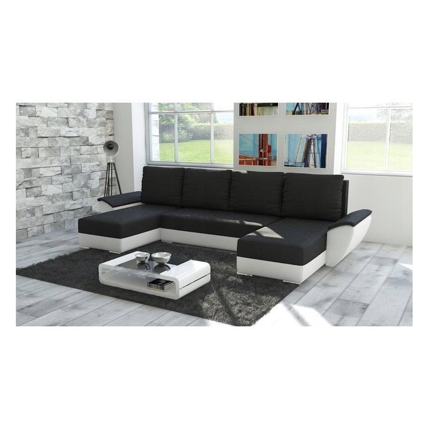 Canapé d'angle convertible GRAZIA noir 322x140 cm