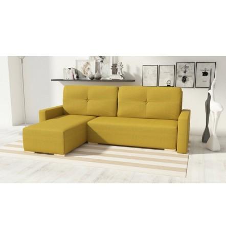 Canapé d'angle convertible Club moutard 225x140 cm