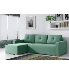 Canapé d'angle convertible Bergamo vert 235x140 cm