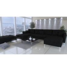 Canapé d'angle PALERMO noir 305x164 cm