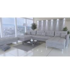 Canapé d'angle réversible PALERMO avec module complémentaire gris 305x164 cm