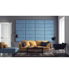 Panneau capitonné pour revêtement mural bleu 50x25 cm
