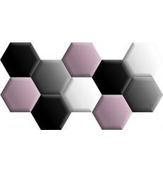 Ensemble de 10 panneaux hexagonaux rembourrés 160x86 cm