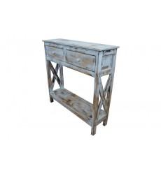Console en bois 1 étagère 2 tiroirs 80 cm ALIONA