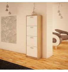 Meuble chaussure 4 battants ILINKA blanc et chêne 50x152 cm