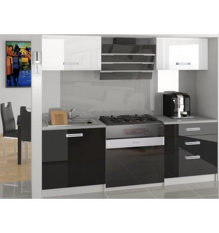 Ensemble cuisine HALONA blanc et noir laqué 120 cm