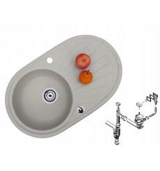 Évier cuisine rond MILIA gris à encastrer 1 bac + 1 égouttoir - granit - 75 cm x 47 cm x 17 cm