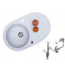 Évier cuisine rond MILIA blanc à encastrer 1 bac + 1 égouttoir - granit - 75 cm x 47 cm x 17 cm