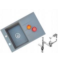 Évier cuisine JADA gris à encastrer 1 bac + 1 égouttoir - granit - 79 cm x 5 cm x 17 cm