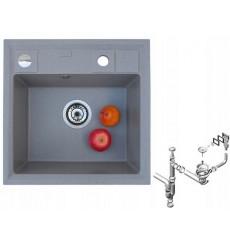 Évier cuisine GEORGES à encastrer 1 bac gris - granit - 46,5 cm x 46 cm x 17 cm