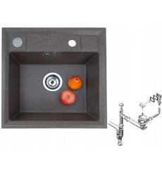 Évier cuisine GEORGES à encastrer 1 bac noir - granit - 46,5 cm x 46 cm x 17 cm