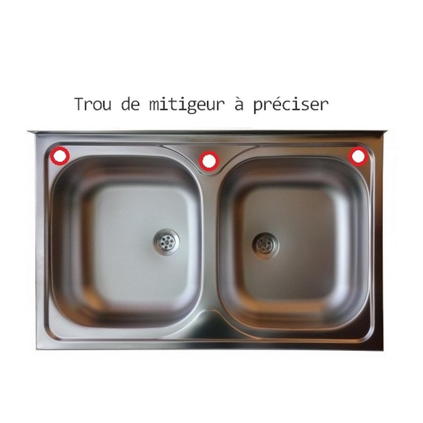 Evier Cuisine Inox A Poser Lekia 2 Bacs 50 X 80 Cm