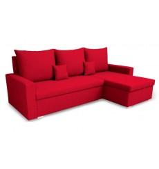 Canapé d'angle convertible réversible VARIA rouge 223x136 cm