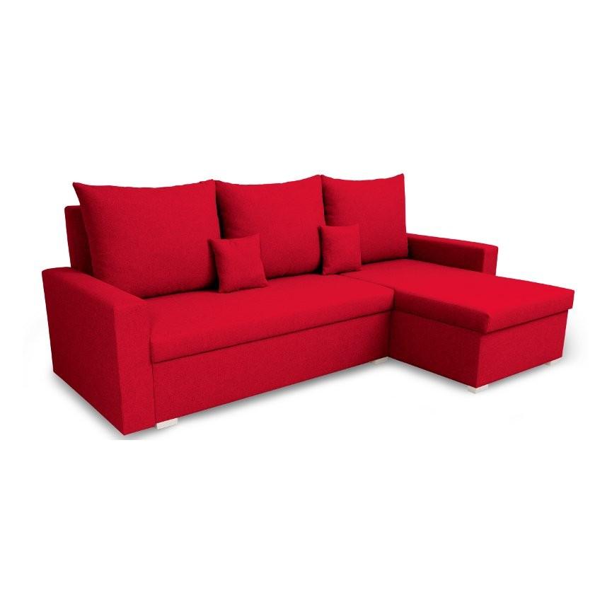 Canapé d'angle convertible VARIA rouge 223x136 cm