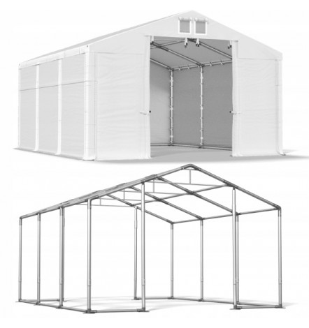 6x10 60 m² tente/hangar de stockage, H. 3,59 m, porte 3,04x2,92 m  toile PVC 530 g/m²