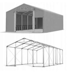 4x10 40m² tente/hangar de stockage, H. 3,65 m, 2 portes + entrée express toile PVC 600 g/m² anti-feu