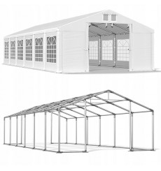 6x12 72 m² tente de jardin, H. 3,09m, porte 2,33x2,31 m, toile PVC de 530 g/m²