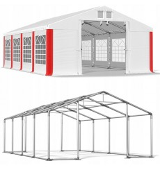 4x8 32 m² tente de jardin, H. 3,15m, porte 1,95x2,47 m, toile PVC de 530 g/m²