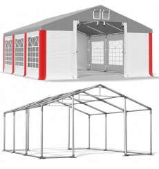 4x6 24 m² tente de jardin, H. 3,15m, porte 1,95x2,47 m, toile PVC de 530 g/m²